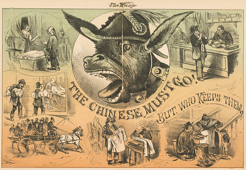 An anti-Chinese immigration illustration from the virulent Wasp magazine of San Francisco