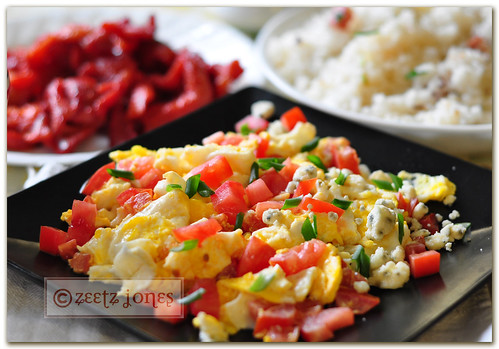 Breakfast ~ Bleu Cheese Scrambled Eggs