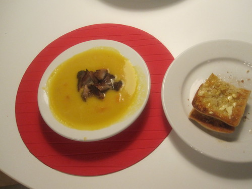 Pumpkin soup with sweet potato and pork belly, bread