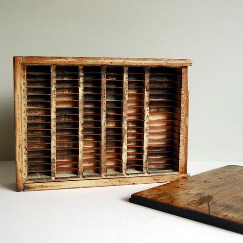 Vintage Printer Box in Rustic Wood