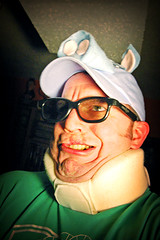 onkel swine (OnkelChrispy) Tags: portrait green me hat self glasses pig idiot beast swine chins wrinkles foolish neckbrace buffoon zorp onkelchrispy swineclasses