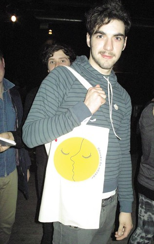 Kev Baird from Two Door Cinema Club with QOS Love Moon Bag!