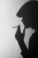 Killing me slowly (Tufsa) Tags: shadow bw selfportrait texture girl hat female photoshop canon feminine smoking sh jente selvportrett profil ryk sigarette skygge 2470mm tufsa ryke bildekritikk 5dmark2 nofk
