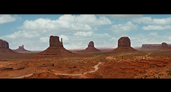 monument valley - utah (Dan Anderson (dead camera, RIP)) Tags: travel arizona panorama usa southwest film clouds america landscape utah sandstone cowboy butte desert indian scenic roadtrip icon american western movies navajo redrock monumentvalley iconic mesa mittens johnwayne artistpoint oldwest johnford merrickbutte