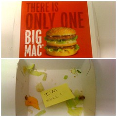 The post-it note says it all... (Cherrybomb Ink) Tags: food photography stuffed diptych flickr fastfood mcdonalds fries mychildhood cherrybomb funphotography bigmacmeal iphonephotography cherrybombink dipticapp