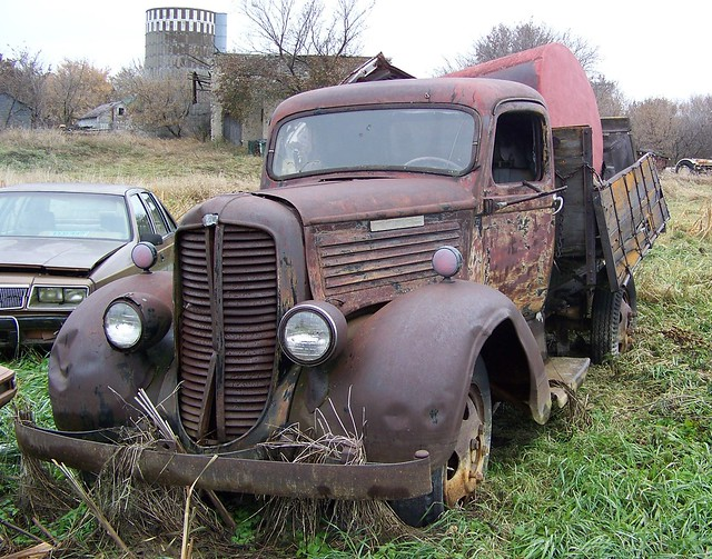 abandoned northdakota dodge trucks junkyard automobiles