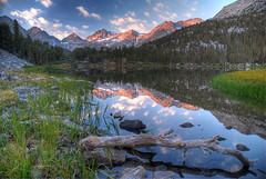 Sunrise at Heart Lake - Rock Creek California (Palojono) Tags: california lake mountains reflection water sunrise heart sierras peaks sierranevada hdr alpenglow rockcreek heartlake easternsierra