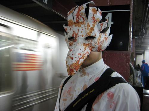 Thuggish splicer at a subway station