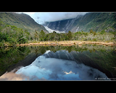 glacier reflection (Daniel Murray (southnz)) Tags: park sunset newzealand lake fern reflection tree ice water pool forest landscape pond scenery dusk glacier tai national franz nz josef southisland peters westland southnz poutini