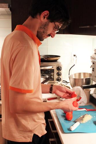 Josh peeling tomatoes