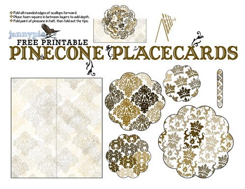 pinecone placecards printable