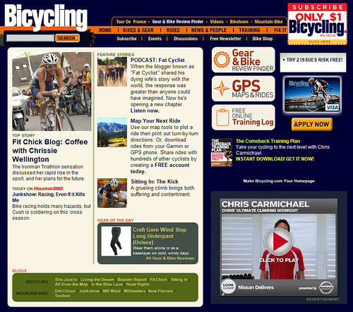 Bicycling website article