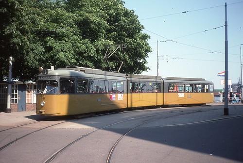 Trams de Rotterdam, ligne 5, tram 321 en 1976 (by trams aux fils)