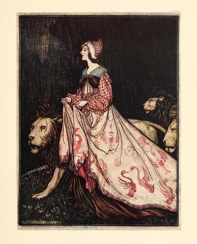 018-La dama y el leon- Snowdrop & other tales 1920- Grimm-Ilustrada por Rackham