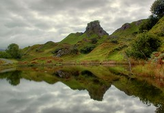 The Fairy Glen (patrick_london) Tags: cloud lake mountains reflection skye tower water island mirror scotland highlands pond isleofskye unitedkingdom britain hill hills fairyglen