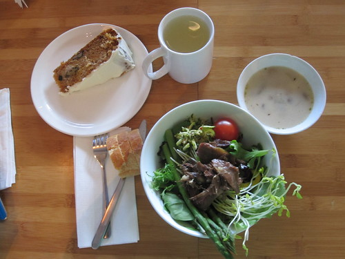 Mushroom soup, duck salad, carrot cake, lemonade - $6