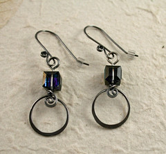 hand forged earrings with crystals