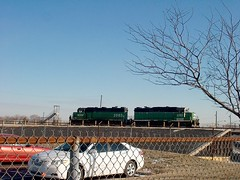 Two former Burlington Northern RR EMD roadswitchers on the south hump at Corwith Yard. Chicago Illinois. January 2007.