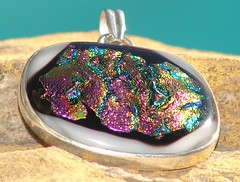 Pink Freeze - fused glass dichroic pendant set in 9.25 sterling silver (artbyevagirl) Tags: glass oneofakind rings etsy kiln 925 hotglass pendants adjustable fused dichroic sterlingsilver artbyevagirl