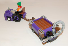 Wonka's Oompa tractor and trailer (Craig 'Lego' Lyons) Tags: tractor factory purple lego chocolate charlie trailer wonka fuel willy oompa