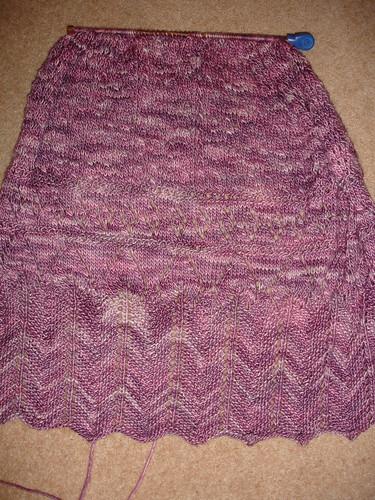 Manos silk blend shawl WIP