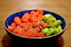 Juicy (W.D. Vanlue) Tags: blue red orange green oregon tomato portland or cucumber tomatoes bowl spices carrot pdx portlandor portlandoregon