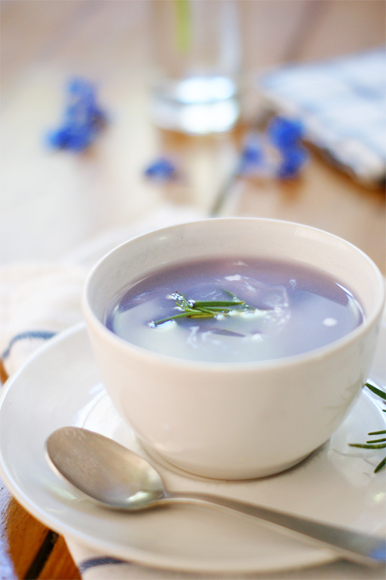 Blue potato soup