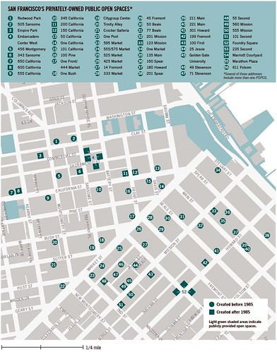 SF's privately owned public spaces (by: San Francisco Planning & Urban Research Association via Strange Maps)