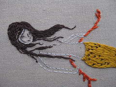 mendocino mermaid for jessica (Aneela Hoey) Tags: linen embroidery mendocino mermaid heatherross hoopupswap