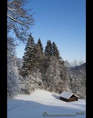 Wintertime (mcPhotoArts) Tags: blue schnee trees winter sky snow nature germany landscape bayern deutschland bavaria cabin natur cottage hovel htte himmel shanty blau wintertime landschaft bume garmischpartenkirchen winterzeit holzhtte huschen canoneos400d sigma1770mm2845dcmacro photoshopcs4 bumblebeephotografix ffgapashow