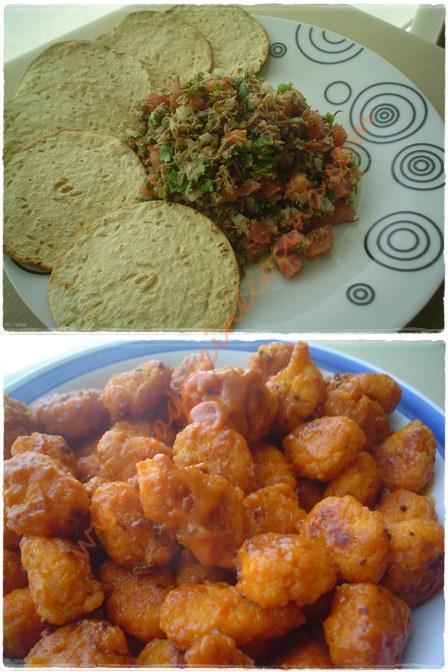 Ceviche de machaca y Palomitas de pollo
