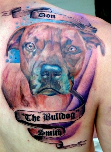 Pit Bull Portrait Tattoo. pet portrait right back shoulder