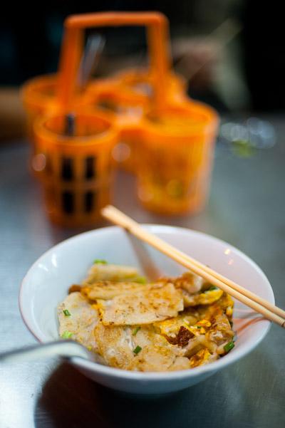 A dish of kuaytiaw khua kai at Nong Ann, a restaurant in Bangkok