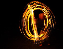Playing with Fire (J-Fish) Tags: camp night fire performance spinning firespinning poi slowshutter firepoi d300s 1685mmf3556gvr 1685mmvr