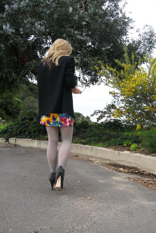 floral dress gray tights boots blazer