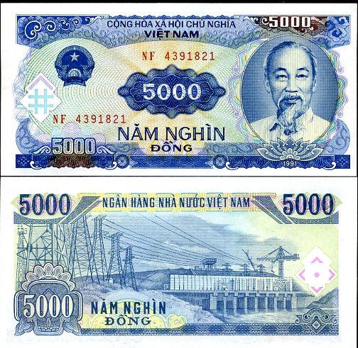VIETNAM 5000 5,000 DONG 1991 P108