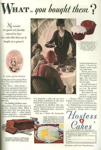 Hostess cakes, 1928