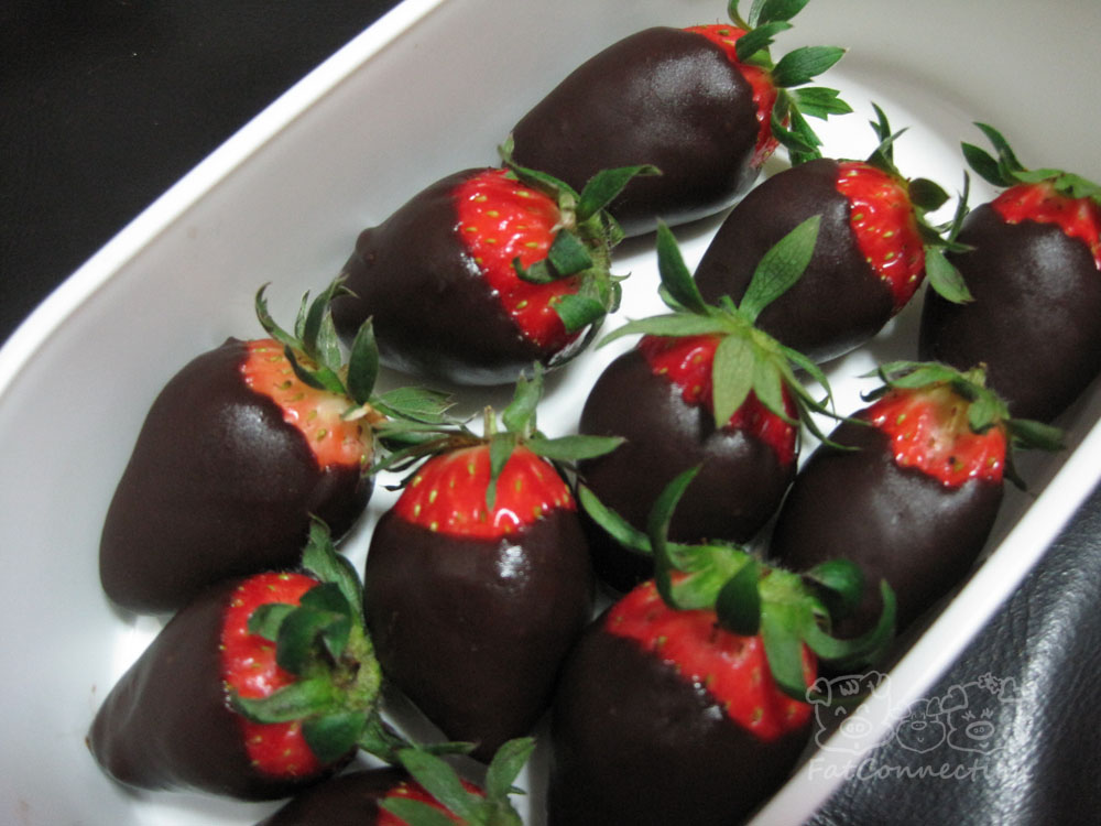 Chocolate coated strawberry