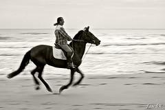 Al galope en Genoveses (Jesús VR) Tags: bw españa horse beach canon caballo eos spain europa europe playa andalucia bn l andalusia jinete almeria 70200 almería cabodegata horseman galope genoveses 40d canonista indalofoto jesusvr