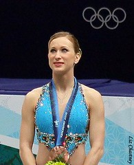 Joannie Rochette during the Olympic medal ceremony. (Photo by Liz Chastney)
