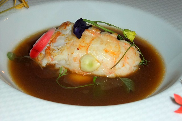 3rd Course: Jumbo Langoustine, Consomme, Leaves and Flowers from Chiang Mai