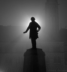 Fog Series: Shadows (Geekstalt) Tags: travel light ontario canada statue for shadows ottawa parliament parliamentbuildings centreblock