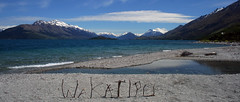 my stick sign (debzlucy) Tags: mountain lake snow mountains water nz queenstown lordoftherings wakatipu mistymountains fotocompetition|fotocompetitionbronze