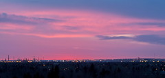 edm10d05 April Sunrise from Edmonton 2010 (CanadaGood) Tags: morning pink blue red canada color colour industry sunrise dawn industrial edmonton purple ab alberta strathcona refinery 2010 canadagood thisdecade