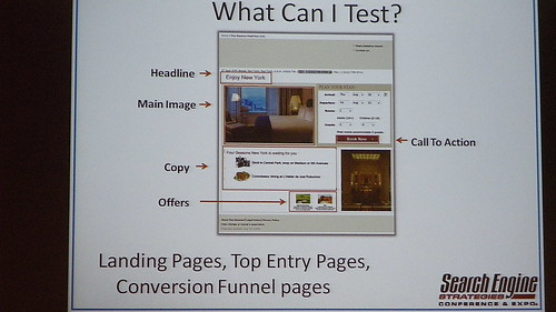 possible parts of a web page to be tested