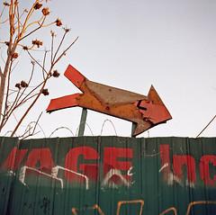 Junkyard arrow (ADMurr) Tags: auto film la hasselblad junkyard eastside 80mm salvageyard missionroad