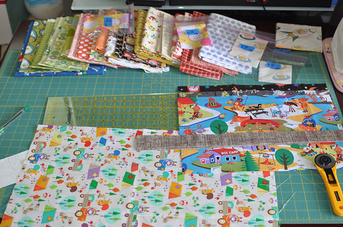 cutting fabric for I Spy quilt