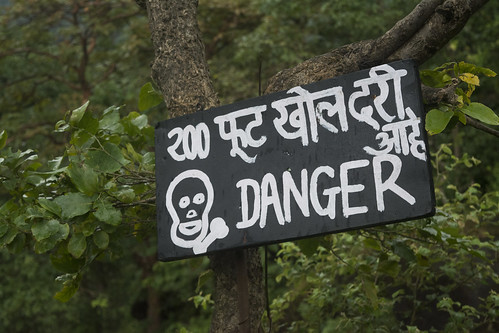 Happy warning sign in the Sanjay Gandhi National Park
