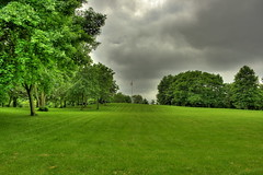 What will you do on a stormy day? (RajRem) Tags: park trees light sky lake storm green nature beautiful field grass playground boston skyline clouds canon river garden dark landscape ma evening pond scenery colorful exposure skies cityscape view shot massachusetts shoreline scenic dramat