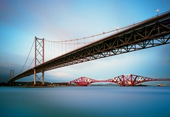 Forth Bridges at twilight (Semi-detached) Tags: road bridge landscape scotland nikon long exposure angle suspension south wide shoreline scottish rail wideangle forth shore curve curvature queensferry nd1000